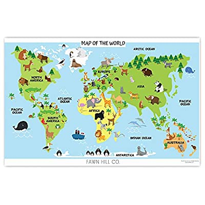 Fawn Hill Co. Disposable Placemats for Children | Peel & Stick Adhesive Table Topper | World Animal Map & Professions Educational Sticky Mat for Restaurants | Toddler Food & Kid Craft Mat | 60 Pack