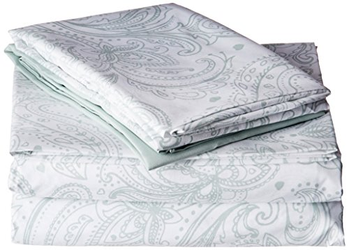 Chic Home SS3707-AN Welford 4 Piece Microfiber Vintage Paisley Sheets, Twin, Green