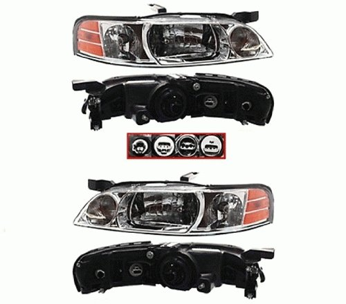 Discount Starter and Alternator NI2503126 NI2502126 Nissan Altima Replacement Headlight Pair Plastic Lens With Bulbs (Altima Headlight Gxe Headlamp Xe)