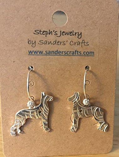 Hammered Great Dane Earrings, Hammered Dog (Great Dane Dog Earrings)