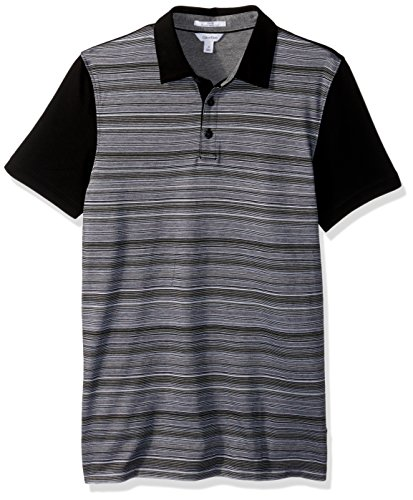 Calvin Klein Men's Slim Fit Short Sleeve Auto Multi Stripe Jacquard Polo Shirt, Black Combo, X-SMALL