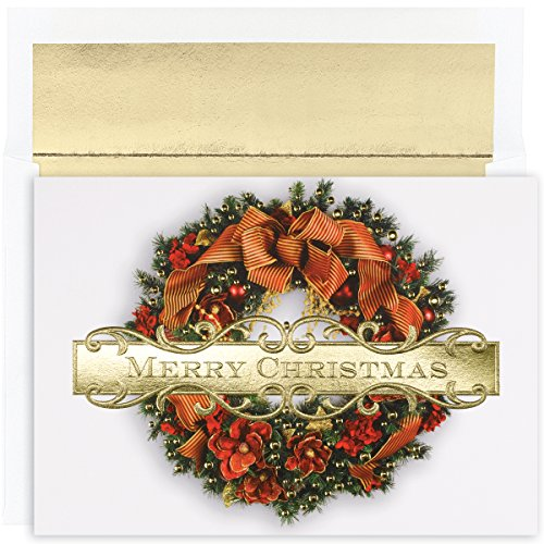Embossed christmas cards amazon holiday greeting card christmas wreath 18 cards18 envelopes 7875 x 5625 847900 m4hsunfo