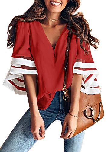 AlvaQ Womens Summer V Neck Mesh Panel Blouse 3/4 Bell Sleeve Loose Top Shirt Fashion 2019 Red 1X