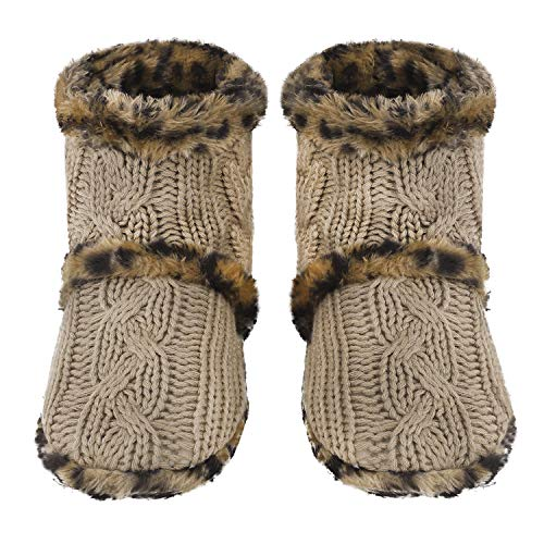 GRE Non Ankle Winter Slip Greenery Indoor Women's Tan Slippers Floor Cotton Light Boots High Socks Knit Warm Fleece Snow Cable Lined daZZPqIr