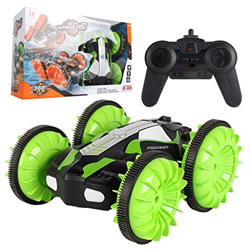 GXOK LH-C013 2.4GHz 4WD Waterproof Double Side Amphibious RC Stunt Car 360° Rotation Car for Children (Green)