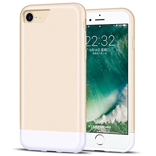 Metallic Slider Case - iPhone 7 Case, K-Moze iPhone 7 Case Protective SOFT-Interior Scratch Protection Metallic Finished Base with Slider Style Hard Case for iPhone 7 - Champagne Gold/white