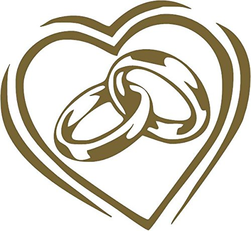 Family Connections Wedding Rings in Heart ~ Gold ~ Window/Car / Truck/Boat / Yeti/Laptop / iPhone/Wall Decal Alcohol PAD~ Size 4
