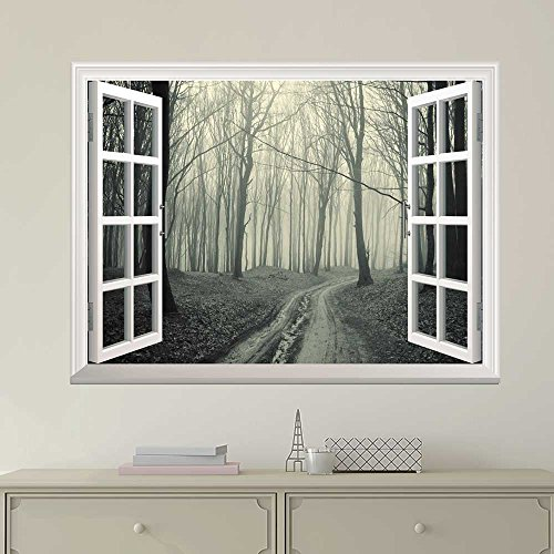 White Window Looking Out Into a Road that Leads to a Dark Foggy Forest Wall Mural