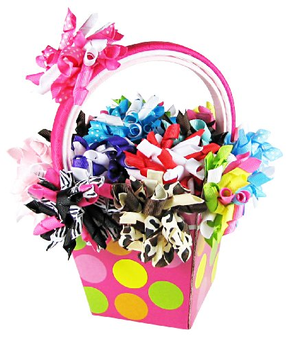 HipGirl 25pc Hair Bow Clips Headbands Gift Basket: Grosgrain Korker Ribbon Alligator Clips + Crochet, Ribbon Wrapped Headbans, For Girls Babies Teens Kids Toddlers Adults. For Pigtails, Ponytails