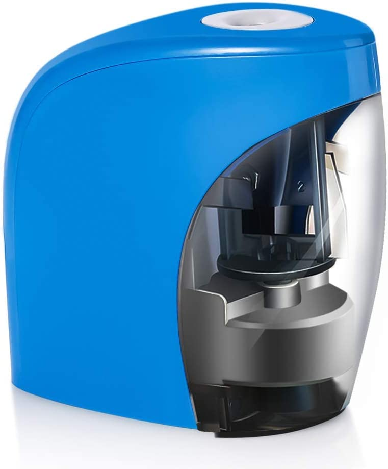 Pencil Sharpener,Electric Pencil Sharpener for NO.2 Pencils and Colored Pencils,Portable Automatic Electric Sharpener Feature for Classroom,Home, Office, Artist, Students,USB or 2AA Batteries BLUE