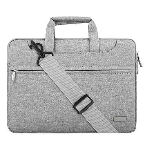 MOSISO Laptop Shoulder Bag Compatible 13-13.3 Inch MacBook Pro, MacBook Air, Notebook Computer with Back Trolley Suitcase Belt, Polyester Carrying Handbag Briefcase Sleeve Case Cover, Light Gray