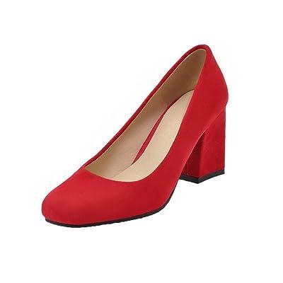 AgooLar Femme Dépolissement à Talon Correct Couleur Unie Tire Chaussures Légeres