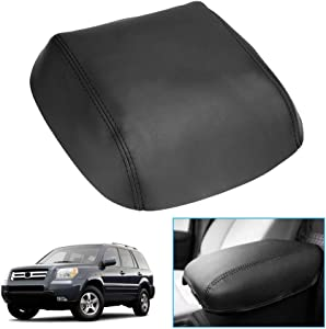 Armrest Cover Center Console Leather Cover for 09-15 Honda Pilot Beige Black (Black)