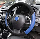 UKB4C Blue Leather Look Stitched Steering Wheel Cover for Toyota Aygo 05-On