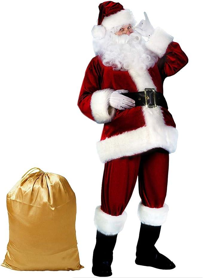 Santa Suit Mens Christmas Adult Santa Claus Costume Deluxe Set Xmas Outfit