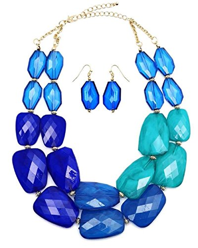 (Secret for Longevity Multi Blue Lapis Turquoise Topaz Colored Resin Big Chunky Collar Statement Fashion Necklace EarringSet)