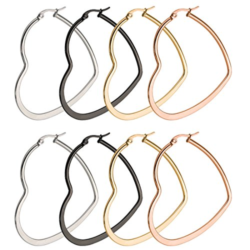 Gold Round Heart - ForeverYou 4 Pairs Stainless Steel Hypoallergenic Big Round Heart Twisted Hoop Earrings Set For Women Men 60mm (Heart)
