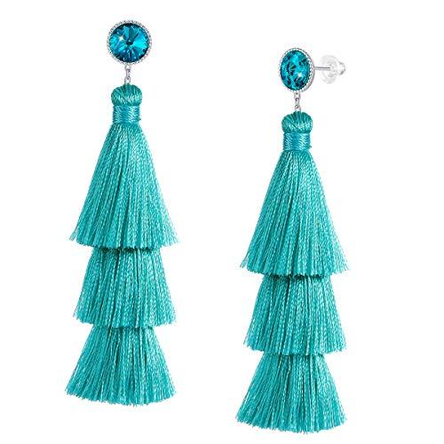 Tiered Tassel Earrings Birthstone for Women 925 Sterling Silver Silk Thread Dangle Drop Stud Earrings with Crystals from Swarovski Bohemian Jewelry for Women Girls