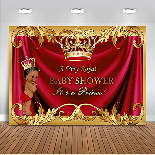 (Mehofoto Red Royal Prince Baby Shower Backdrop Gold Curtain Photography Background 7x5ft Vinyl Red Prince Baby Shower Party Backdrops)