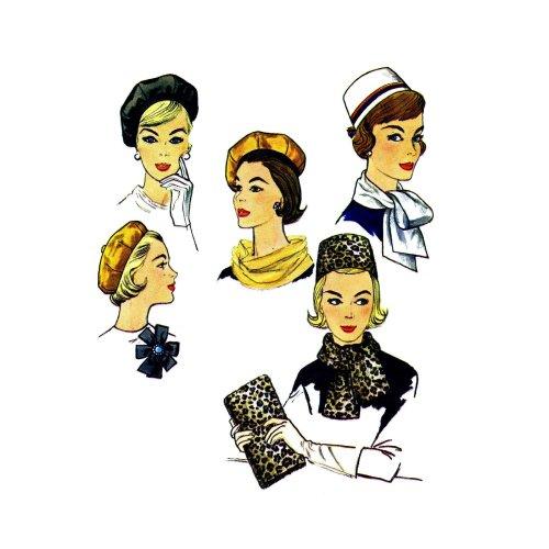 1960s Pillbox Hat Beret Scarves Bag Rosette Simplicity 4178 Vintage Sewing Pattern
