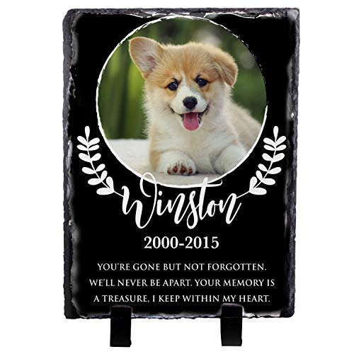 (USA Custom Gifts Personalized Memorial Pet Headstone Hardest Goodbye 6x6 Natural Stone, Marble, Traverten or Granite (D-6))