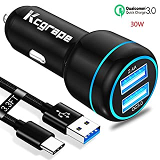 Car Charger Fast Charge QC 3.0 for Samsung Galaxy Note 10/10 Plus 5G Lite,S10 S10E S10+,S20 20,A51 A71,S9 S8 Plus,A81 A91 A21 A31 A41 2020,Cargador Coche 2 USB Port:QC3.0+2.4A+3.3FT USB C Charing Cord