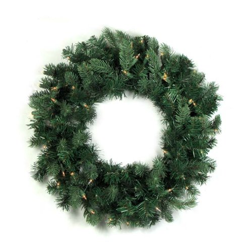 Vickerman Pre-Lit Natural Frasier Fir Artificial Christmas Wreath with Clear Dura Lights, 36