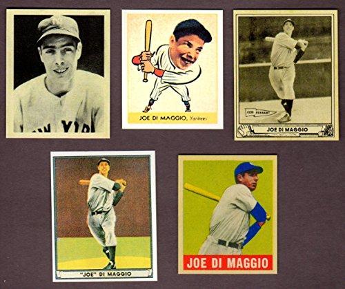 Yankees Ball York New (Joe DiMaggio (5) Card Reprint Baseball Lot w/ Original Backs (1938 Goudey Heads Up Rookie) (1939 Play Ball) (1940 Play Ball) (1941 Play Ball) (1949 Leaf) (New York Yankees))