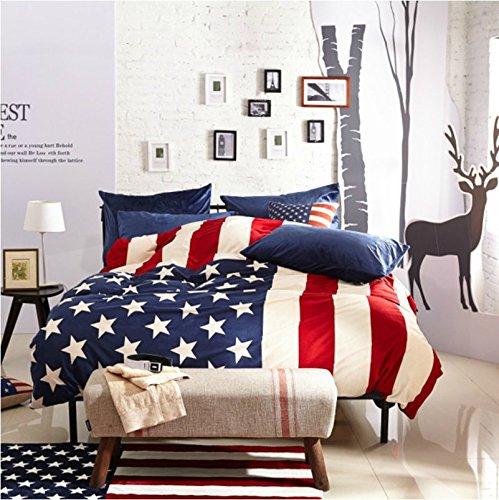 LELVA America Blue American Flag Bedding Modern Bedding Velvet Bedding Duvet Cover Set Gift Idea