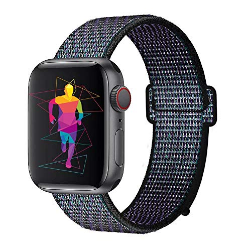 INTENY Sport Band Compatible with Apple Watch 38mm 40mm, Nylon Sport Loop, Strap Replacement for iWatch Series 4, Series 3, Series 2, Series 1 (Hyper Grape, 38mm 40mm)