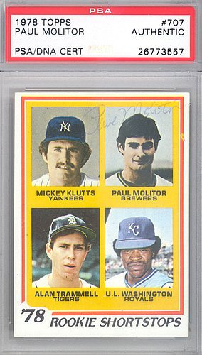 Paul Autograph Molitor (Paul Molitor Signed 1978 Topps Rookie Trading Card #707 Milwaukee Brewers Vintage - Certified Genuine Autograph By PSA/DNA)