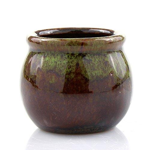 NW Wholesaler - Small Green/Brown Two Tone Ceramic Round Planter Pot, 2.5