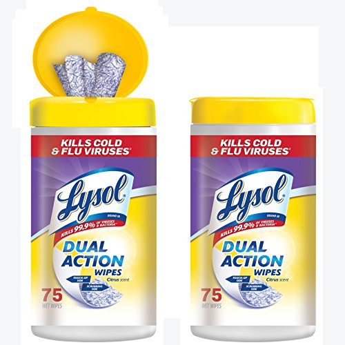 Lysol Dual Action Disinfecting Wipes Value Pack, Citrus, 150 Count (Pack of 10) by Pharmapacks