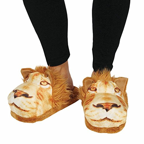 Slippers Animal Women's Print Sublimated Small Fuzzy Lion UqInfxSAHw