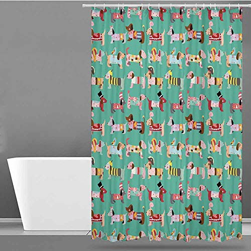 VIVIDX Home Decor Shower Curtain,Dog Lover,Abstract Puppy Pattern with Human Clothing Fun Dress up Theme Domestic Animals,Single stall Shower Curtain,W55x86L Multicolor ()