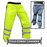 """Cold Creek Loggers Chainsaw Apron Safety Chaps with Pocket (35"""", Safety Green)"""