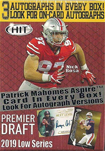 2019 Sage Hit Premier NFL Draft Series Factory Sealed Blaster Box with 3 Guaranteed Autographed Cards per Box! One of The First 2019 Football Products on The Market!