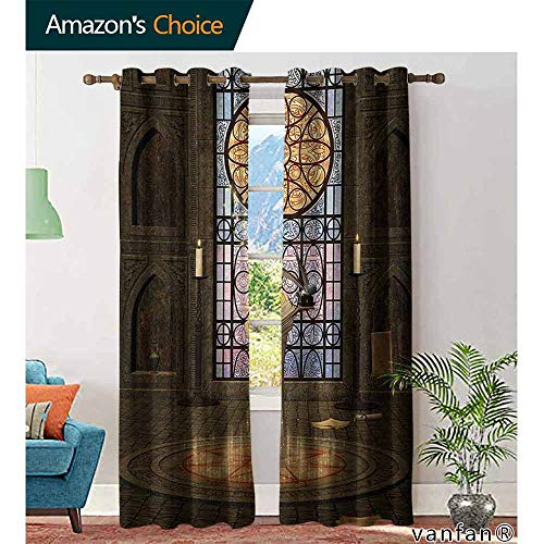 Big datastore home Gothic Kitchen Curtains,Lectern on Pentagram Symbol Medieval Architecture Candlelight in Dark Altarfor Bedroom, Nursery, Living Room,Olive Green Mustard W72 x L84