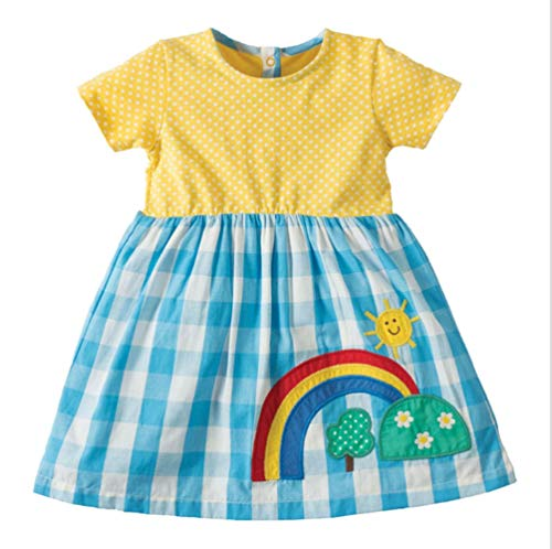 Kids Girls Cotton Dress Short Sleeves Casual Summer Striped Rainbow Shirt Desses -
