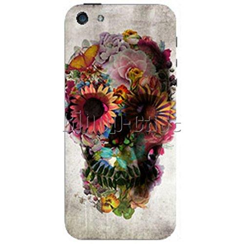 COQUE PROTECTION TELEPHONE Iphone 5 ET 5S - TETE DE MORT FLEURS FLOWER