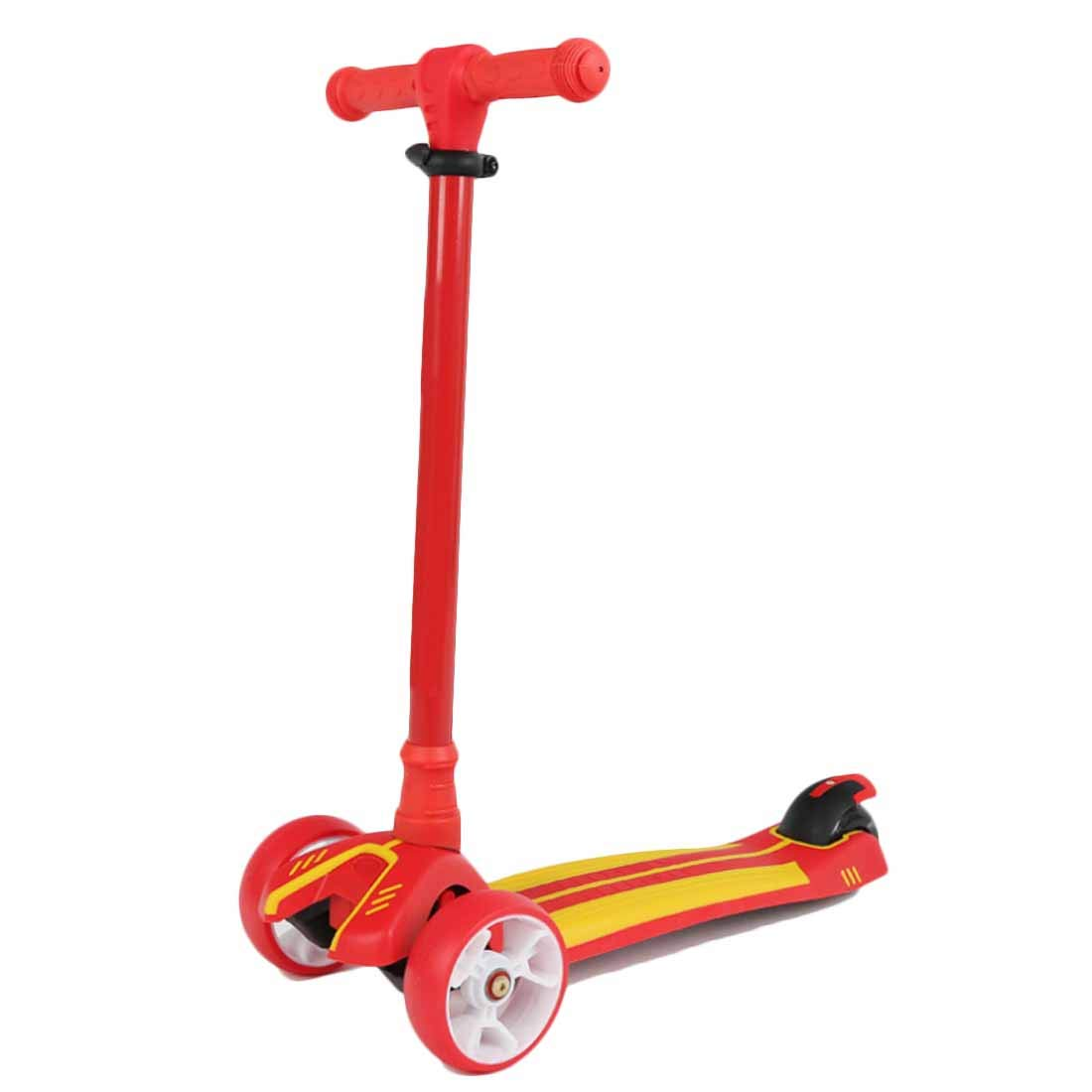 MYMGG Kick Scooter for Kids - 3 Wheels Scooter with Adjustable Height Extra-Wide Deck PU Flashing Wheels,Red