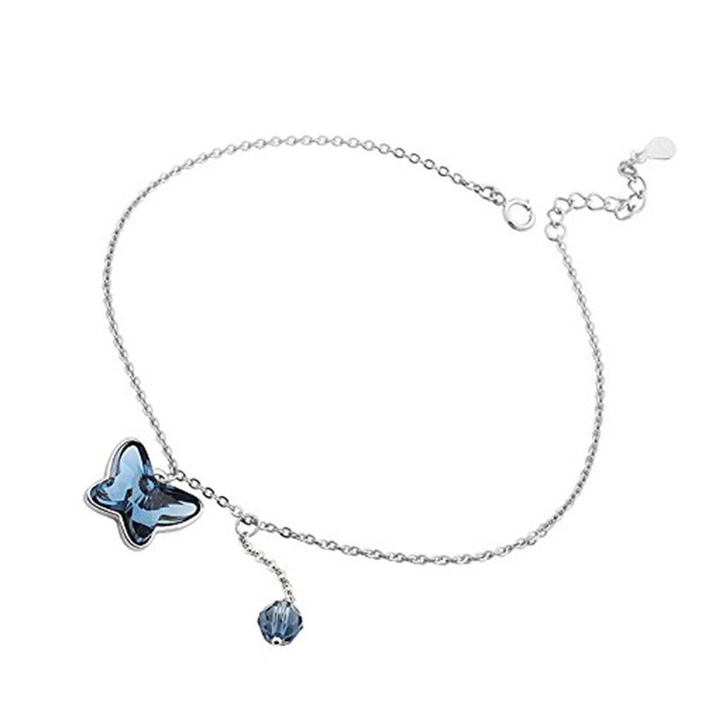 IUHA Love Butterfly Made with Swarovski Crystals Sparkling Anklets with Butterfly For Women or Girls Present Gifts Prevent allergies