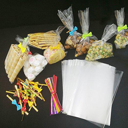 200 bolsas transparentes de tratamiento con 200 lazos de 20 lazos, 5 colores, bolsas de celofán transparente para fiestas, bolsas de regalo para pasteles, ...