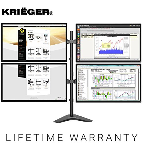 KRIËGER KL4327N • Quad Monitor Mount Full Motion Articulating Arm Monitor Stand • Universal Fit for Computer Screens • 13