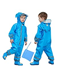 Spring Color Kids One-Piece Waterproof Raincoat, Reflective Rain Coat Coverall, Outdoors Rain Suit(3-10 Years)