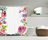 Ambesonne Watercolor Flower Decor Collection, Floral Frame with Summer Flowers Roses Natural Picture, Polyester Fabric Bathroom Shower Curtain Set with Hooks, Pink Navy Blue Purple White