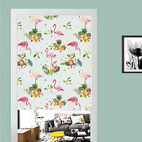 SCOCICI 3D Printed Magic Stickers Door Curtain,Flamingo,Flamingo Bird Tropical Flowers Fruits Pineapples Vintage Artwork,Yellow Green Light Pink,Privacy Protect for Kitchen,Bathroom,Bedroom(1 Panel)