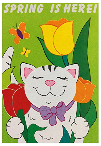 Embroidered Cat & Tulips Garden Flag 12
