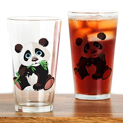 CafePress - Panda Eating Bamboo - Pint Glass, 16 oz. Drinking - Panda Glass