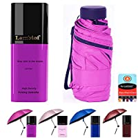 Lembiof Compact Travel Umbrella with Waterproof Case, 6 Ultra Strong Ribs Finest 99% UV Protection Outdoor Umbrella for Women and Men (Purple)